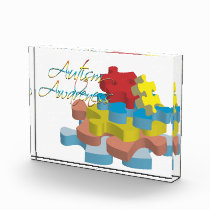 Autism Awareness Puzzle Pieces Acrylic Award