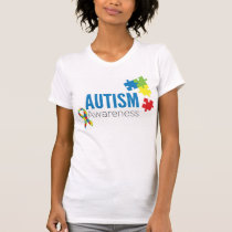 Autism Awareness Puzzle Pieces and Ribbon T-Shirt