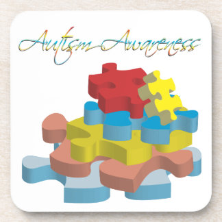 Autism Awareness Puzzle Pieces Cork Coaster