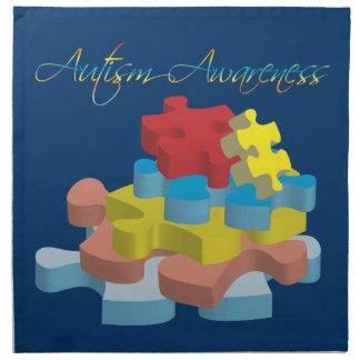 Autism Awareness Puzzle Pieces Dk. Blue Napkin