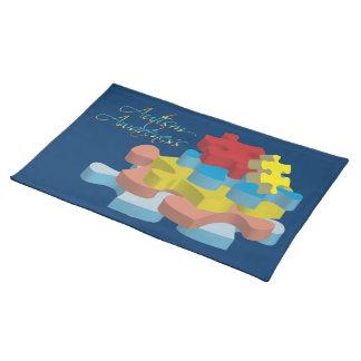 Autism Awareness Puzzle Pieces Dk. Blue Placemat