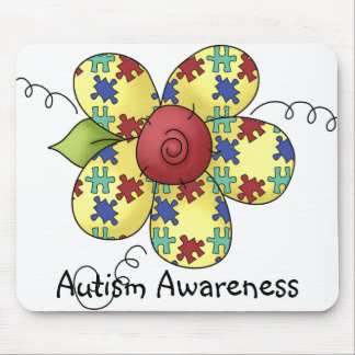 Autism Awareness Puzzle Pieces Flower Design Mouse Pad