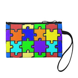 Autism Awareness Puzzle Pieces Key Coin Clutch Change Purses