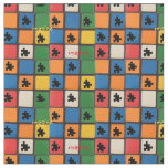 Autism Awareness Puzzle Pieces Mosaic Fabric