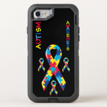 Autism Awareness Puzzle Pieces Pattern Ribbon OtterBox Defender iPhone 8/7 Case