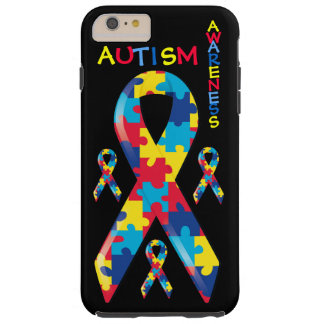 Autism Awareness Puzzle Pieces Pattern Ribbon Tough iPhone 6 Plus Case