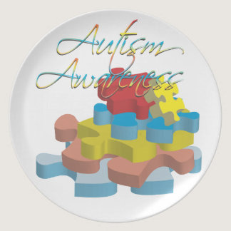 Autism Awareness Puzzle Pieces Plate