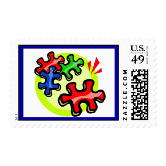 Autism Awareness Puzzle Pieces Postage