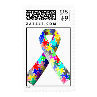 Autism Awareness Puzzle Pieces Postage Stamps