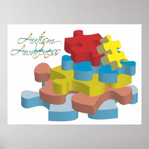 Autism Awareness Art Posters Framed Artwork: Autism Awareness Puzzle Pieces Poster Art