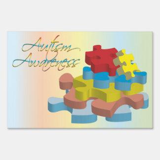 Autism Awareness Puzzle Pieces Rainbow Yard Sign