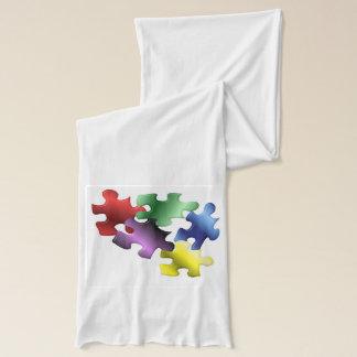 Autism Awareness Puzzle Pieces Scarf
