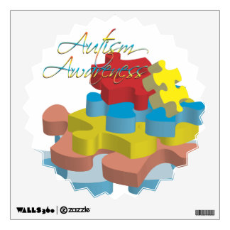 Autism Awareness Puzzle Pieces Starburst Wall Deca Wall Decal