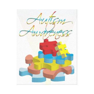Autism Awareness Puzzle Pieces Stretched Canvas