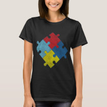 Autism Awareness Puzzle Pieces Vintage T-Shirt