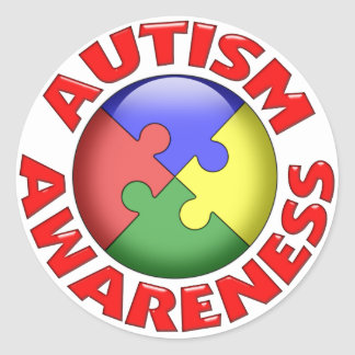Autism Awareness Puzzle Pinwheel Classic Round Sticker