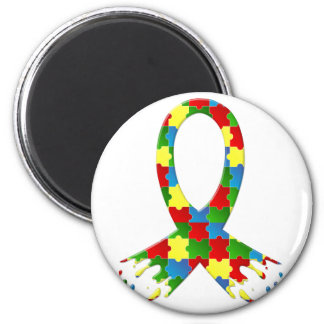 AUTISM AWARENESS PUZZLE RIBBON 2 INCH ROUND MAGNET