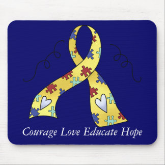 Autism Awareness Puzzle Ribbon Design 4 Mouse Pad