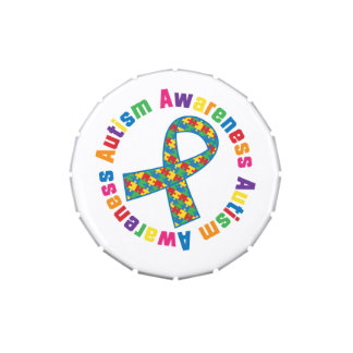 Autism Awareness Puzzle Ribbon Gift Jelly Belly Tins