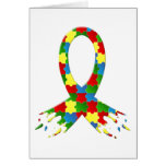 AUTISM AWARENESS PUZZLE RIBBON GREETING CARDS