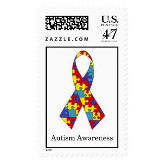 Autism Awareness Puzzle Ribbon Postage