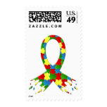 AUTISM AWARENESS PUZZLE RIBBON POSTAGE STAMP
