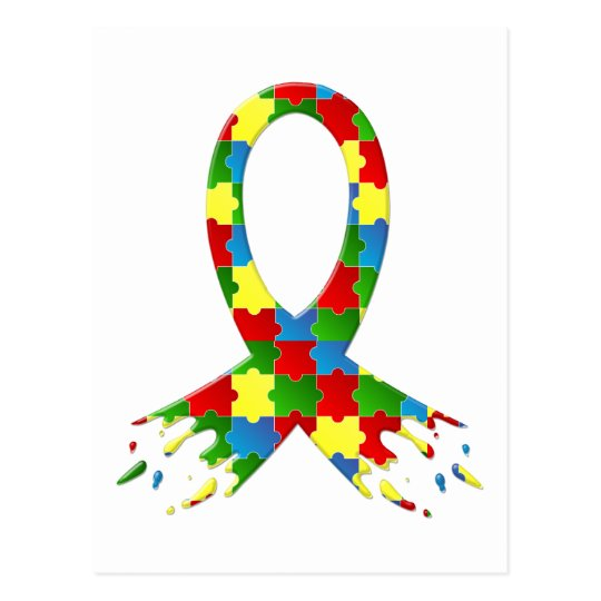 AUTISM AWARENESS PUZZLE RIBBON POSTCARD