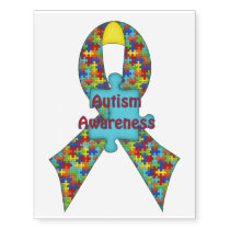 Autism Awareness Puzzle Ribbon Tattoo