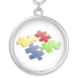 Autism Awareness Puzzle Round Pendant Necklace