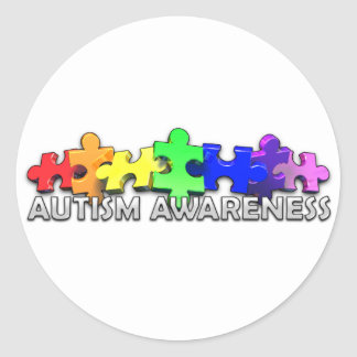 Autism Awareness Puzzle Strip Classic Round Sticker