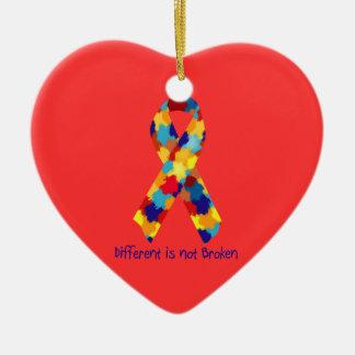 Autism Awareness Puzzle Support Ribbon Ceramic Ornament