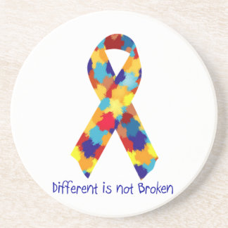Autism Awareness Puzzle Support Ribbon Drink Coaster