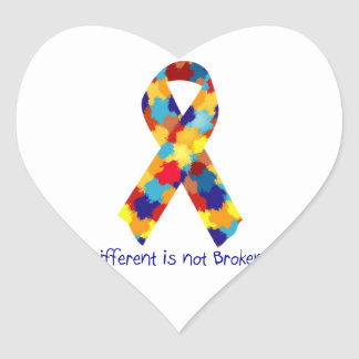 Autism Awareness Puzzle Support Ribbon Heart Sticker