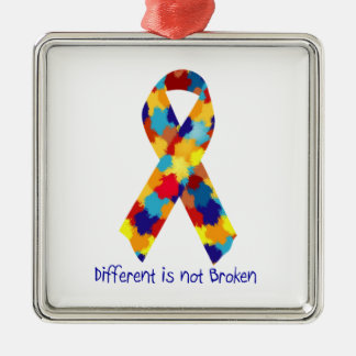 Autism Awareness Puzzle Support Ribbon Metal Ornament