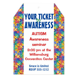 Autism Awareness puzzle ticket invitation