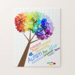 "Autism Awareness Puzzle Tree<br><div class=""desc"">A tree with a rainbow of puzzle pieces makes for an attractive autism awareness symbol. Word art below the tree in bright colors make a bold statement. This design concept was created from discussions between two mothers with children diagnosed with pervasive developmental disorder. Autism is a complex disorder that needs...</div>"