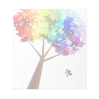 Autism Awareness Puzzle Tree Notepad