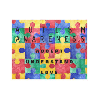 Autism Awareness puzzle wrapped canvas