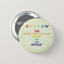 Autism Awareness Rainbow Pinback Button