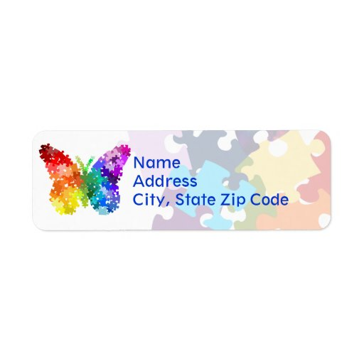 Autism Awareness Rainbow Puzzle Butterfly Return Address