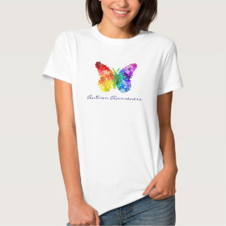Autism Awareness Rainbow Puzzle Butterfly T Shirt