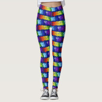 Autism Awareness Rainbow Puzzle Design Leggings