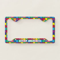 Autism Awareness Rainbow Puzzle Pattern License Plate Frame