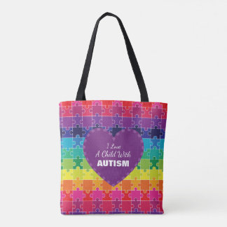 Autism Awareness Rainbow Puzzle Pieces Tote Bag