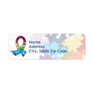 Autism Awareness Rainbow Puzzle Ribbon Label