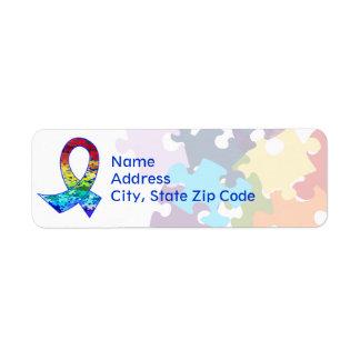 Autism Awareness Rainbow Puzzle Ribbon Label