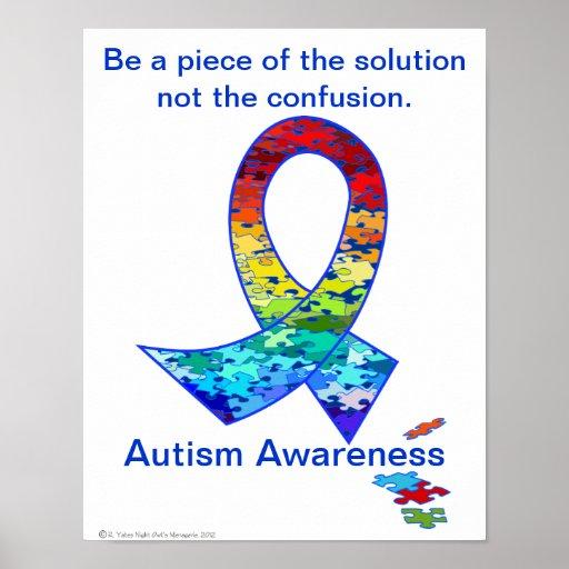 Autism Awareness Rainbow Puzzle Ribbon Poster | Zazzle