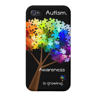 Autism Awareness Rainbow Puzzle Tree for iPhone 4 iPhone 4/4S Cases