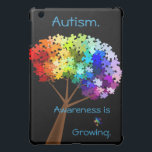 "Autism Awareness Rainbow Puzzle Tree iPad Mini Cover<br><div class=""desc"">A tree with a rainbow of puzzle pieces makes for an attractive autism awareness symbol. The text &quot;awareness is growing&quot; can be customized if desired. Original artwork by Rebecca of Nightowl&#39;s Menagerie,  2010.</div>"