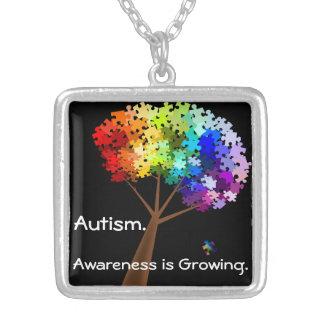 Autism Awareness Rainbow Puzzle Tree Square Pendant Necklace